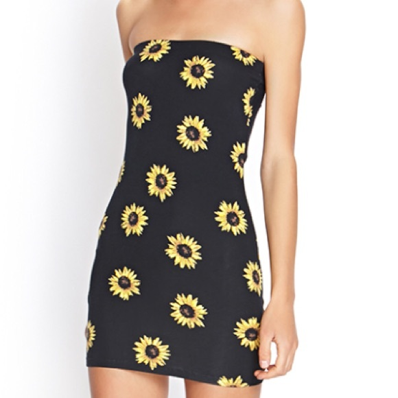 b1ccb863 Forever 21 Dresses | Cute Black And Yellow Sunflower Tube Dress ...